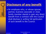 disclosure of any benefit