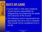 duty of care