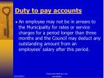 duty to pay accounts