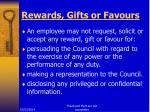 rewards gifts or favours