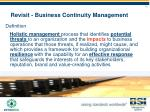 revisit business continuity management