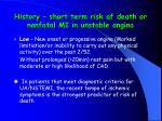 history short term risk of death or nonfatal mi in unstable angina10