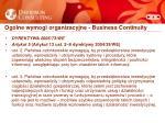og lne wymogi organizacyjne business continuity