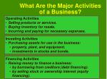 what are the major activities of a business