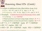 reasoning about fds contd