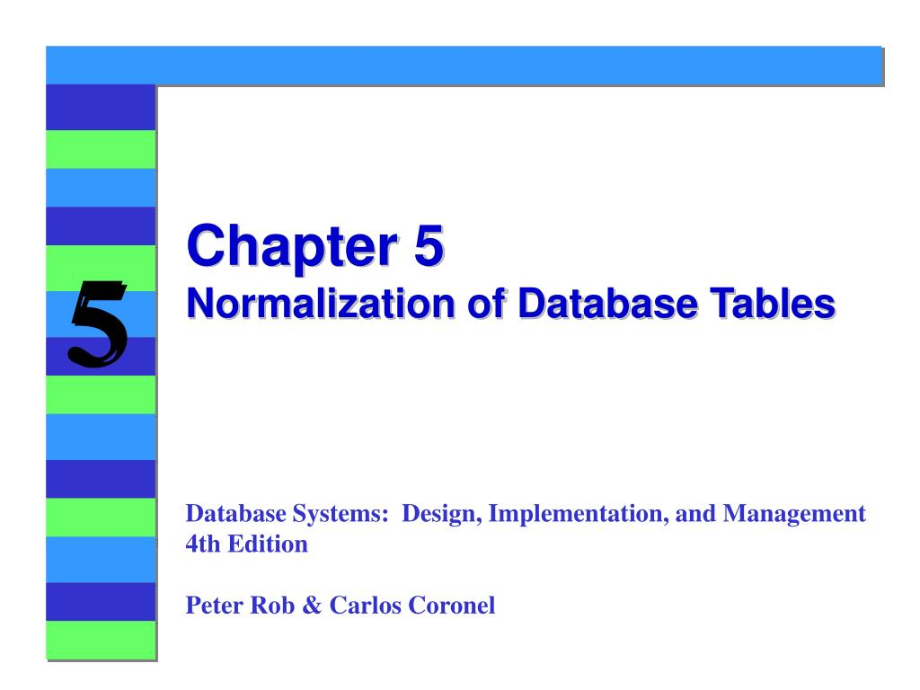 chapter 5 normalization of database tables l.
