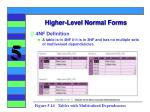 higher level normal forms