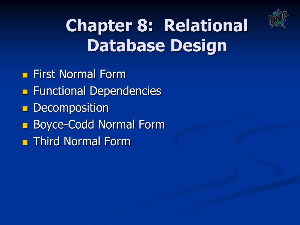 chapter 8 relational database design l.