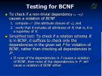 testing for bcnf