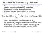 expected complete data log likelihood