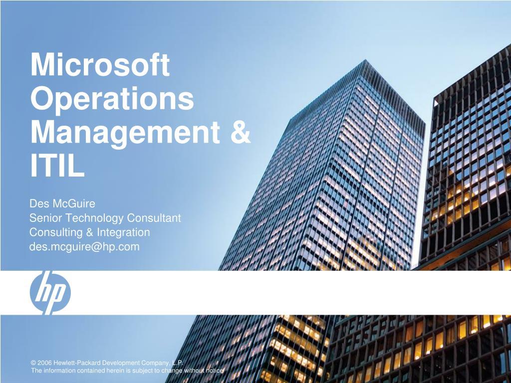 microsoft operations management itil l.