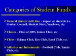 categories of student funds