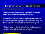 disposition of unused funds