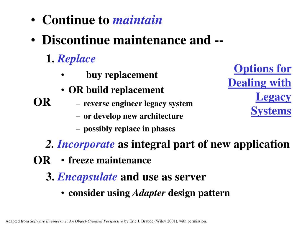 Options for Dealing with Legacy Systems