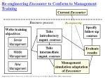 re engineering encounter to conform to management training