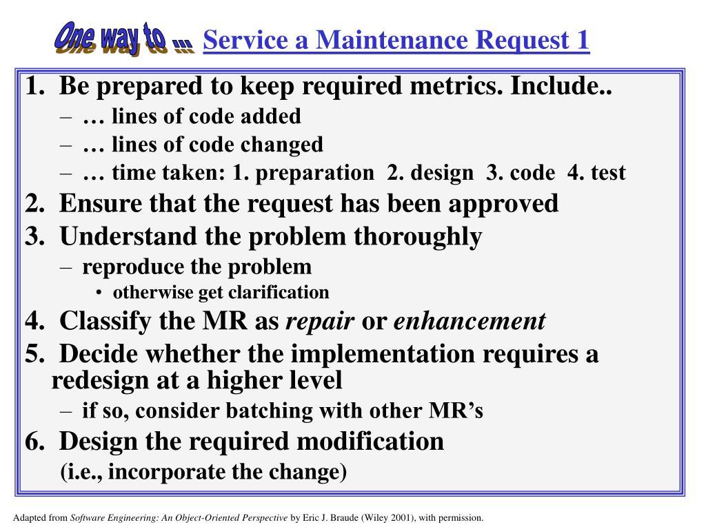 Service a Maintenance Request 1