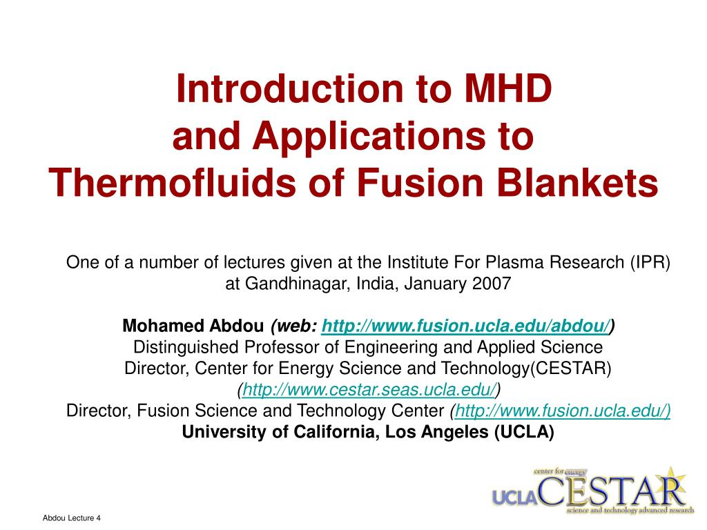 introduction to mhd and applications to thermofluids of fusion blankets l.