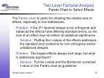 two level factorial analysis pareto chart to select effects