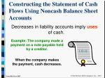 constructing the statement of cash flows using noncash balance sheet accounts9