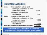 investing activities