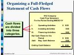 organizing a full fledged statement of cash flows