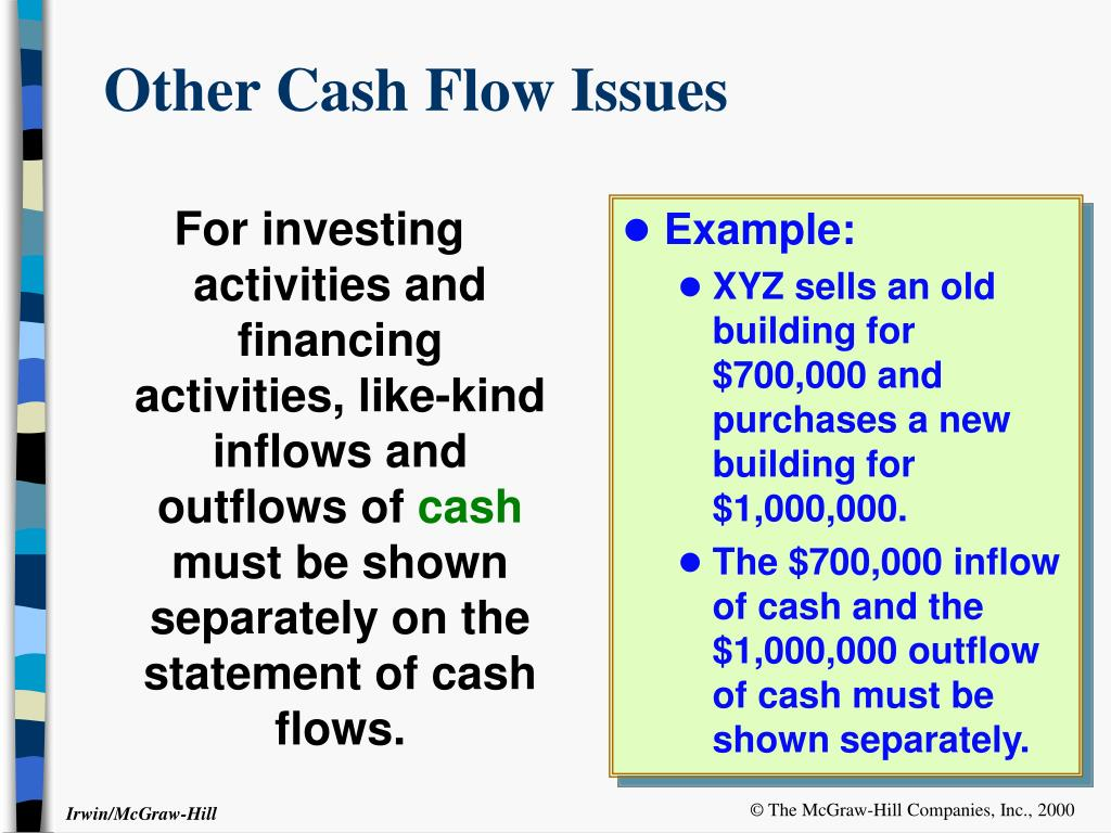 For investing activities and financing activities, like-kind inflows and outflows of