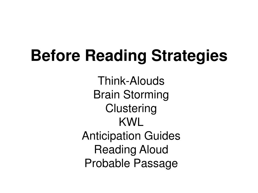 before reading strategies l.