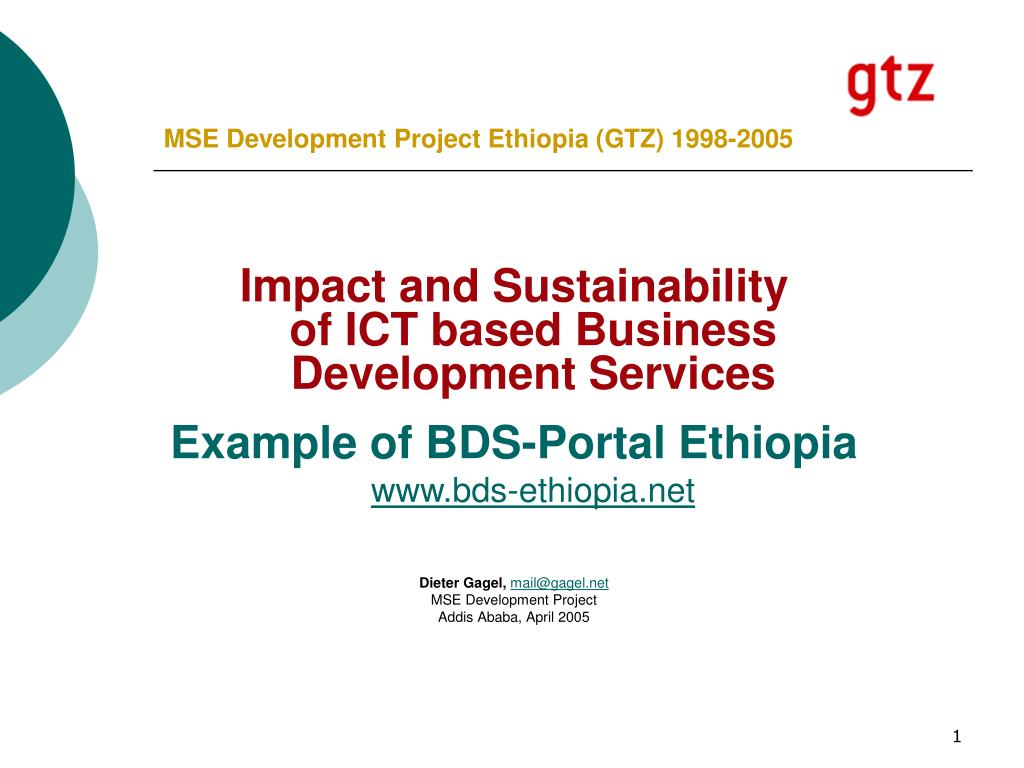 mse development project ethiopia gtz 1998 2005 l.