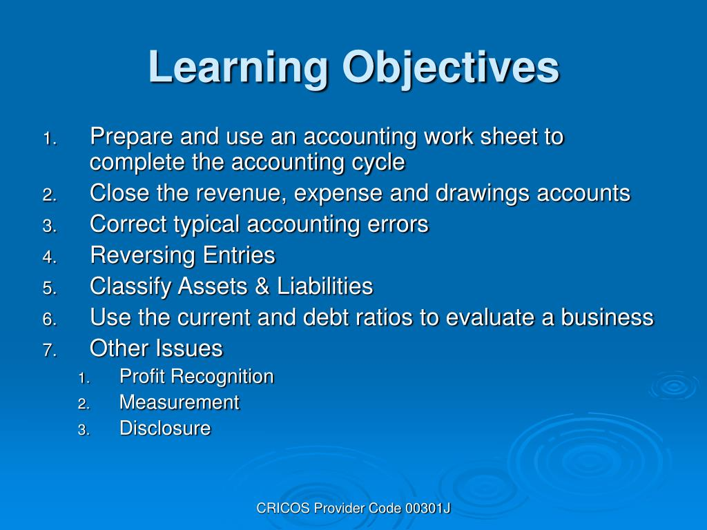 Prepare and use an accounting work sheet to complete the accounting cycle