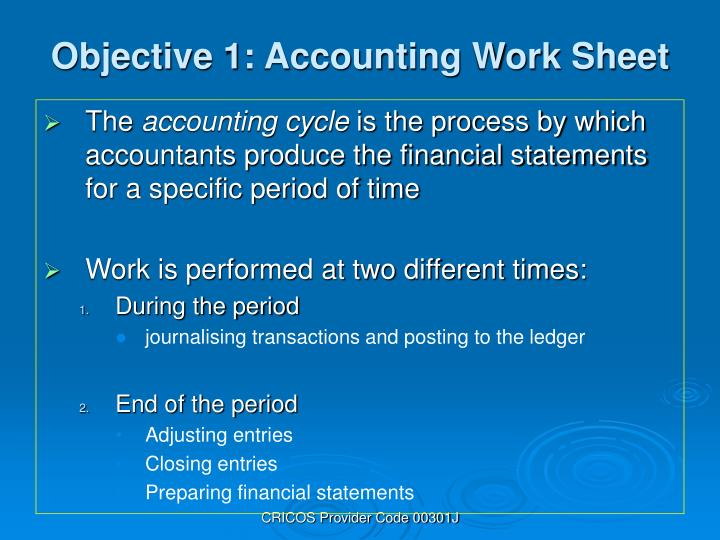 Objective 1 accounting work sheet
