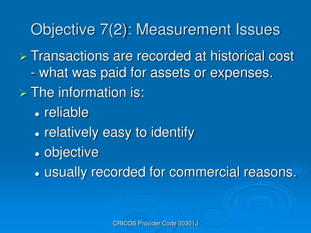 Objective 7(2): Measurement Issues