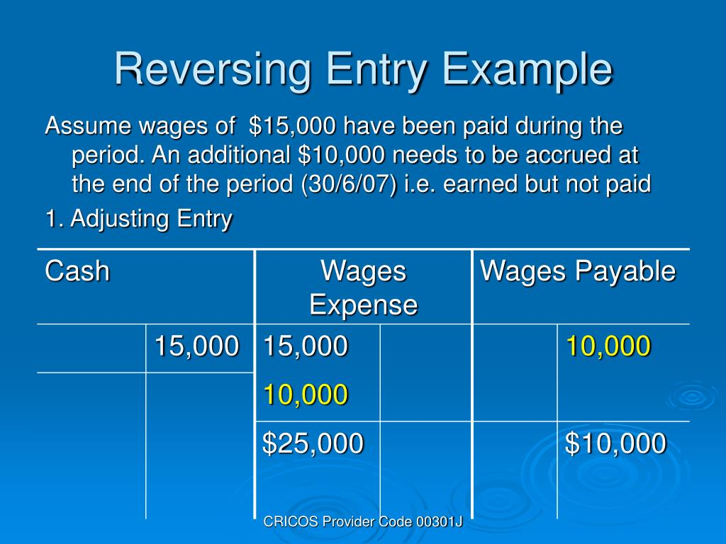 Reversing Entry Example