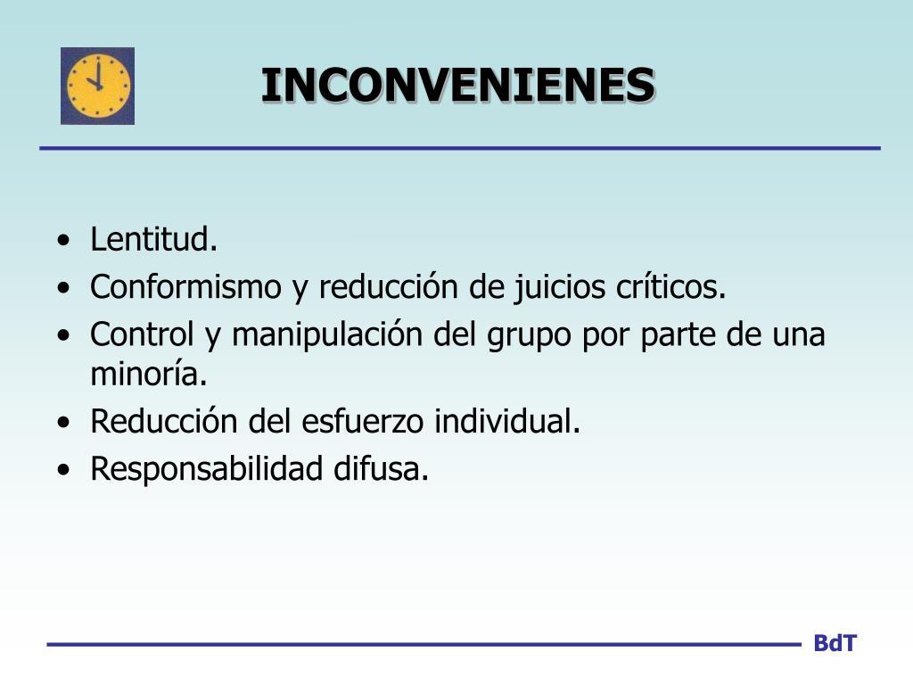 INCONVENIENES