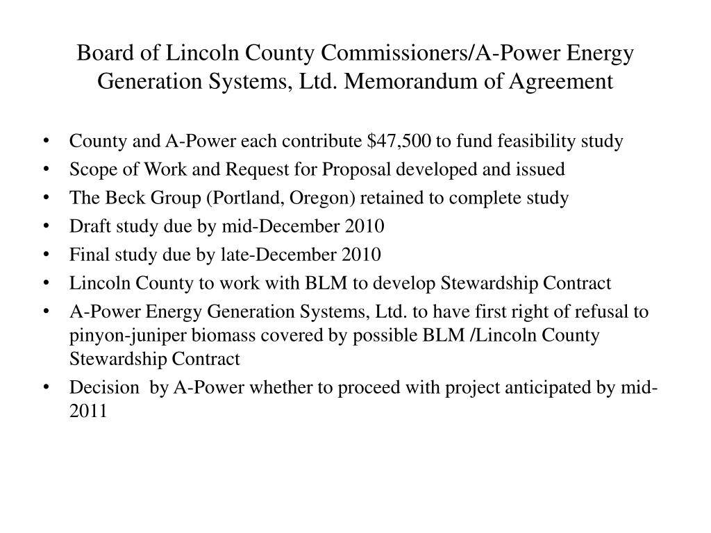 Board of Lincoln County Commissioners/A-Power Energy Generation Systems, Ltd. Memorandum of Agreement