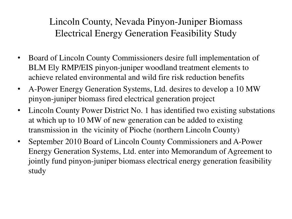 Lincoln County, Nevada Pinyon-Juniper Biomass