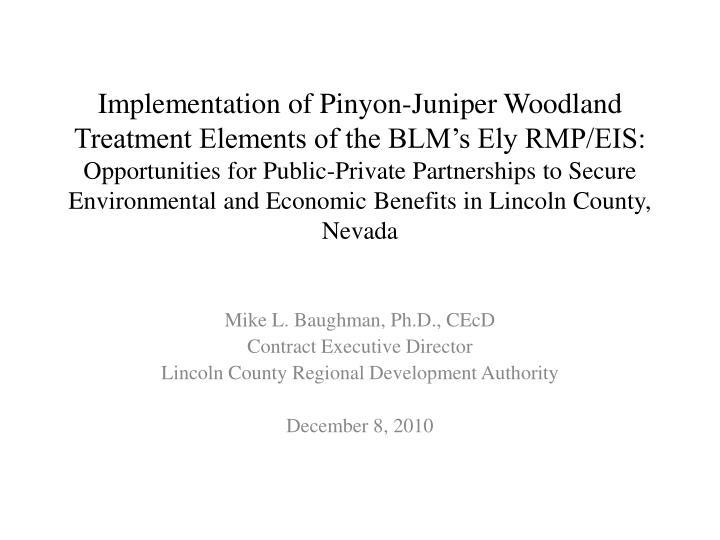 Implementation of Pinyon-Juniper Woodland Treatment Elements of the BLM's Ely RMP/EIS: