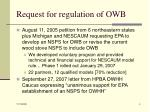 request for regulation of owb