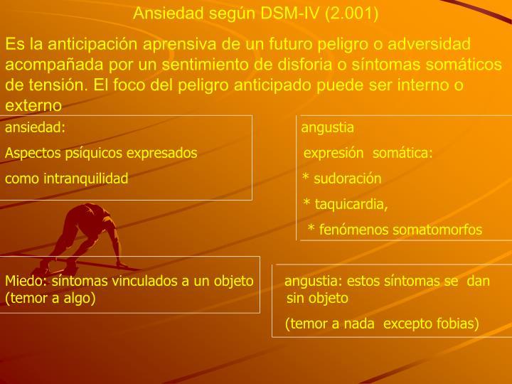 Ansiedad según DSM-IV (2.001)