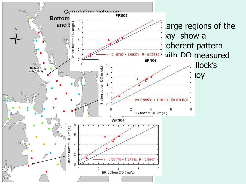 Large regions of the bay  show a coherent pattern with DO measured at the Bullock's Reach Buoy