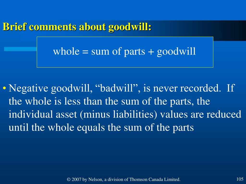 whole = sum of parts + goodwill