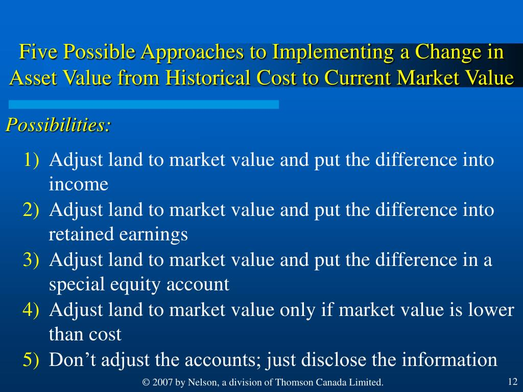 Five Possible Approaches to Implementing a Change in Asset Value from Historical Cost to Current Market Value