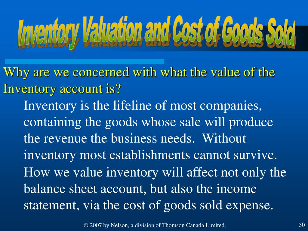 Inventory Valuation and Cost of Goods Sold