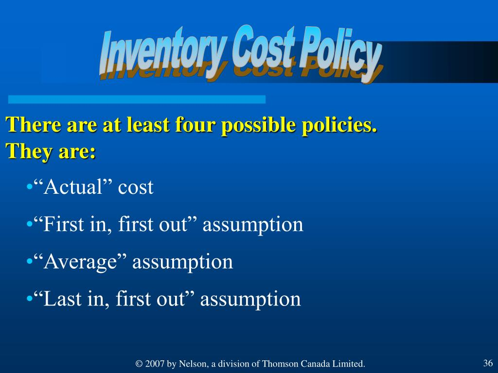 Inventory Cost Policy