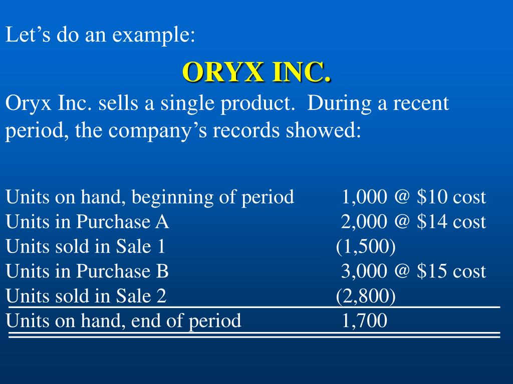 Oryx Inc. sells a single product.  During a recent period, the company's records showed: