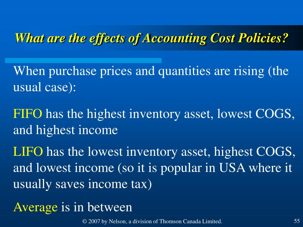 What are the effects of Accounting Cost Policies?