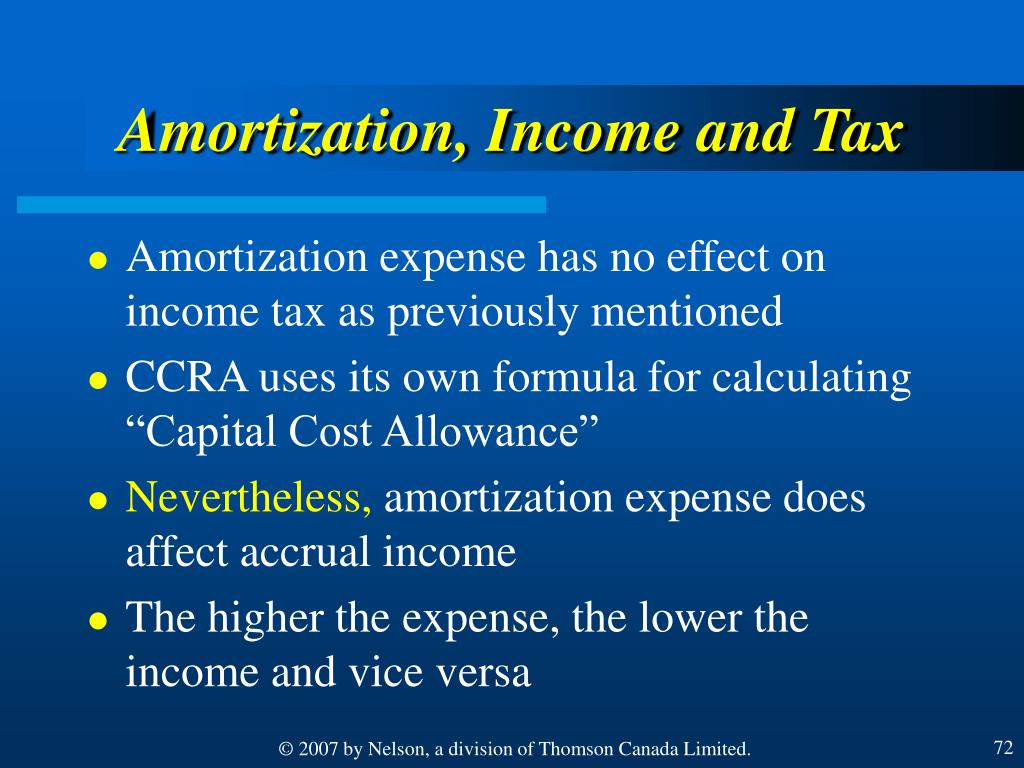 Amortization, Income and Tax