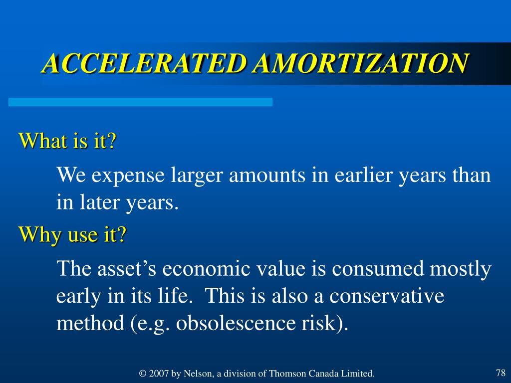 ACCELERATED AMORTIZATION