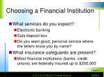 choosing a financial institution8