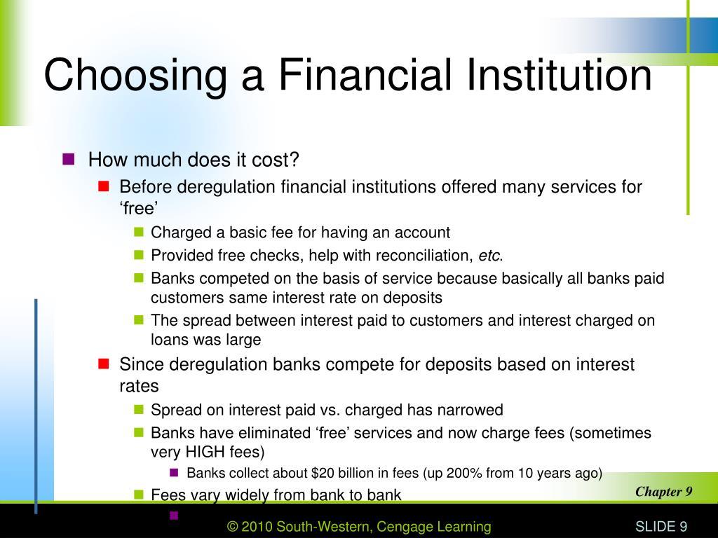 Choosing a Financial Institution