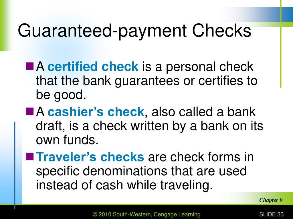 Guaranteed-payment Checks